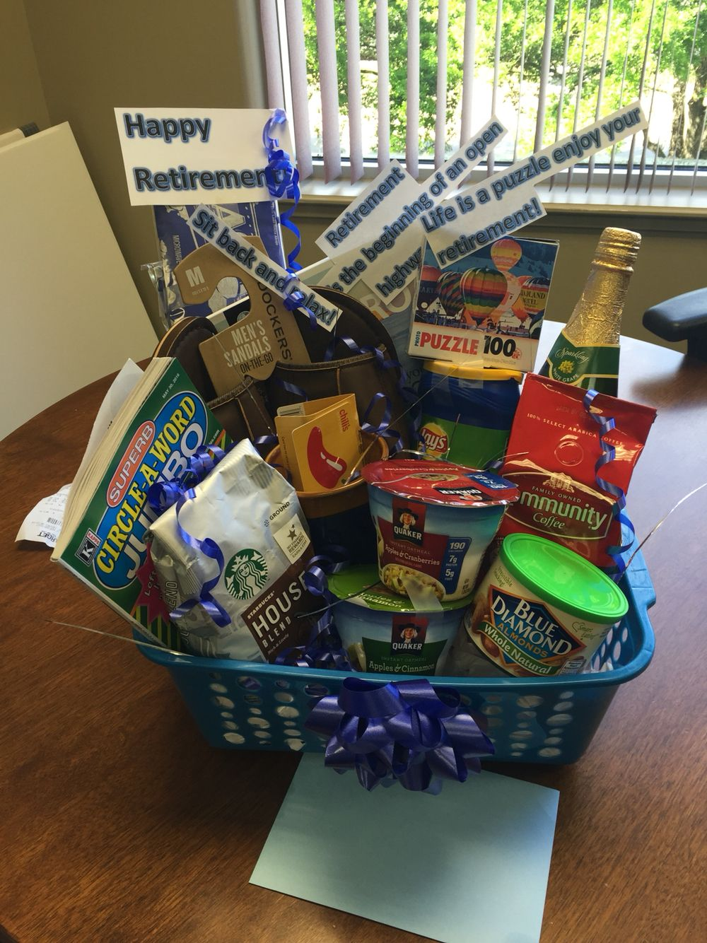Retirement basket I made for my co-worker.   Retirement ...