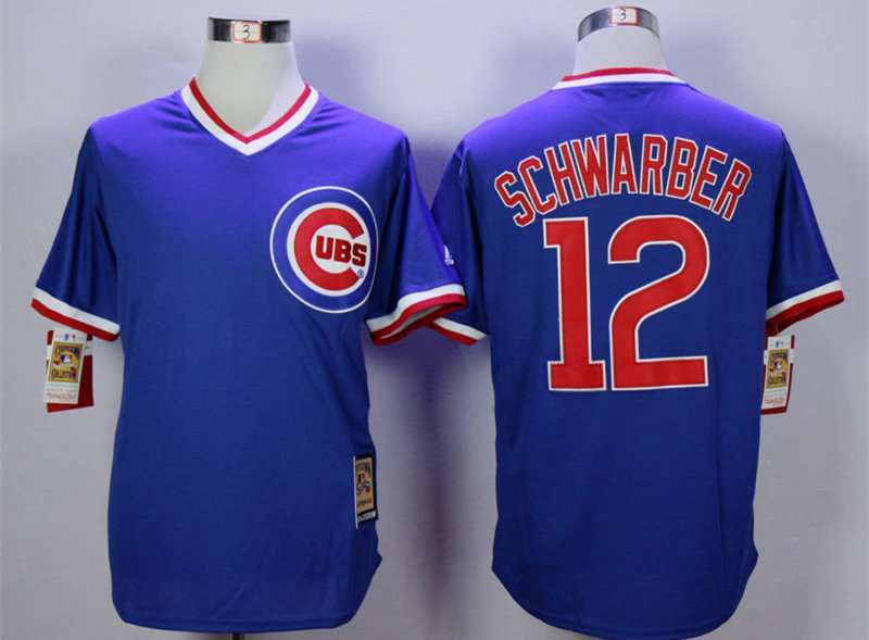 size 40 2a55d 40644 mens chicago cubs 12 kyle schwarber blue throwback jersey