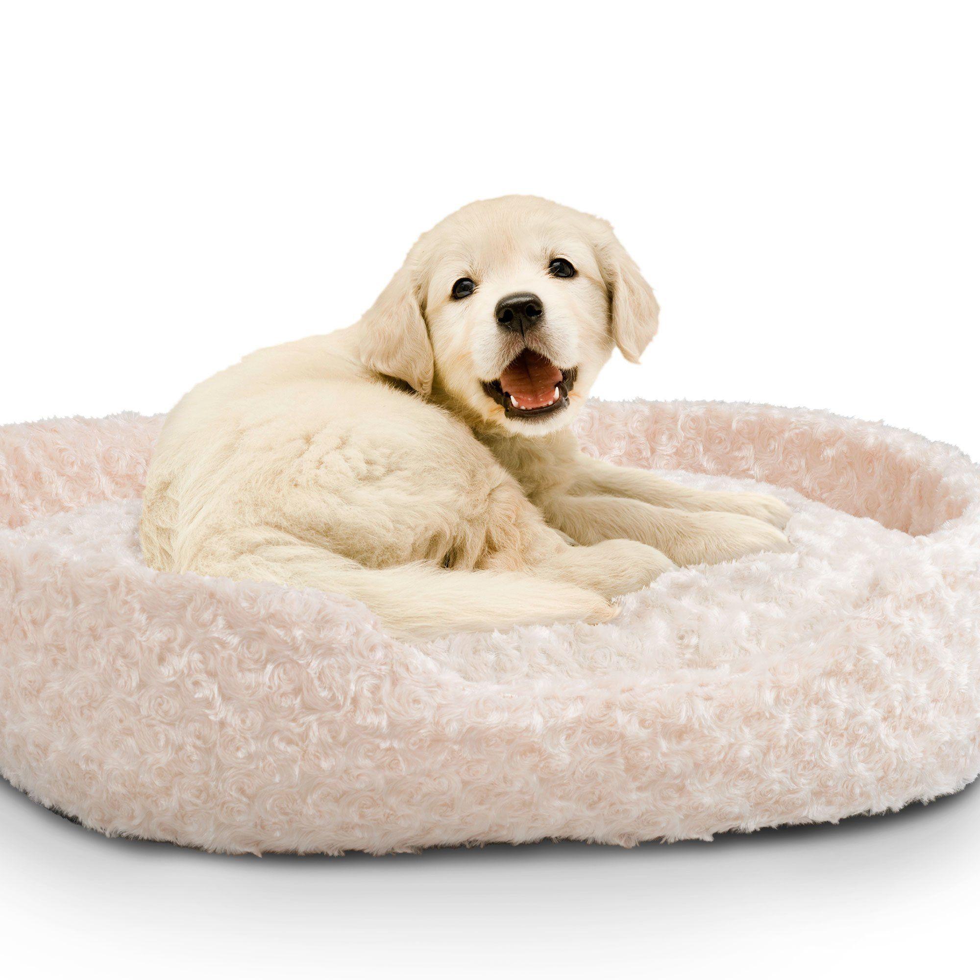PETMAKER Large Cuddle Round Plush Pet Bed Ivory >>> You