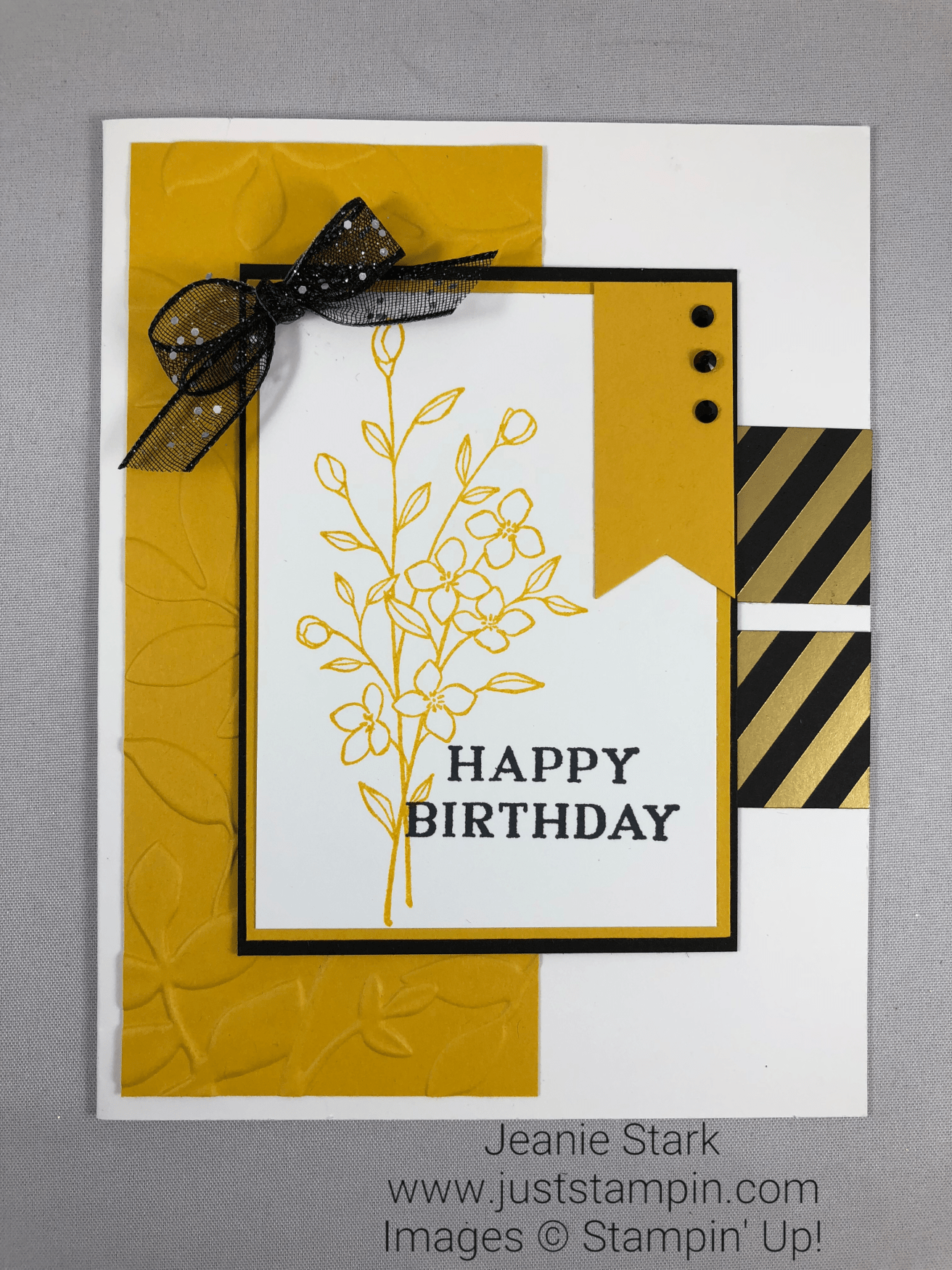 Stampin Up Touches Of Texture And Perennial Birthday Embossed Card Idea
