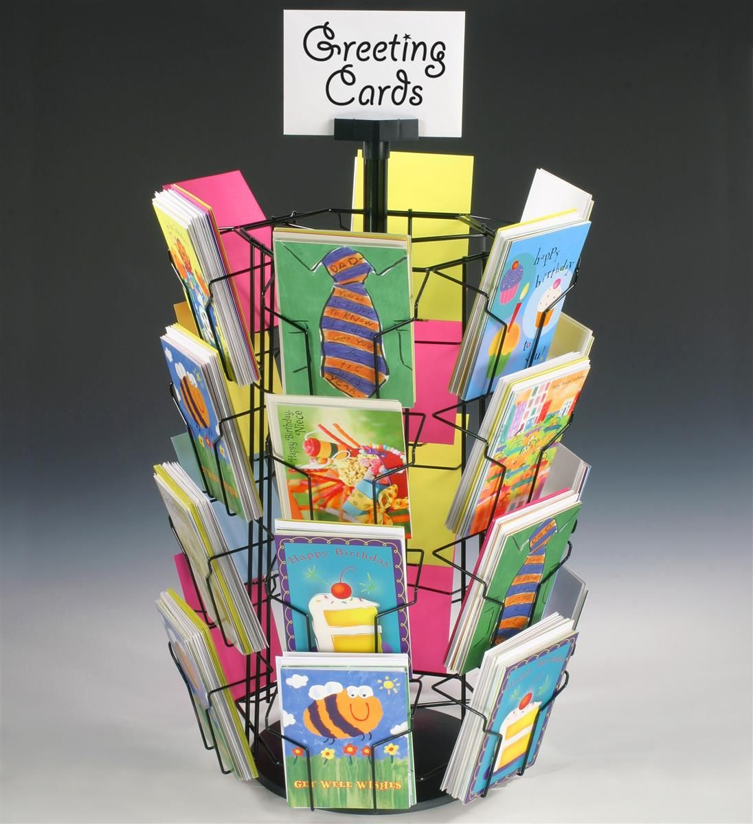 Rotating Greeting Card Display W/ Sign Clip, Countertop