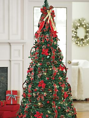 Traditional Red Plaid Pull Up Tree