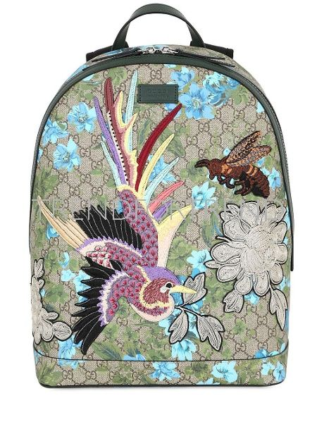 a7eae0fea GUCCI | leather flowers embroidered backpack multicolor lock zip bird bags