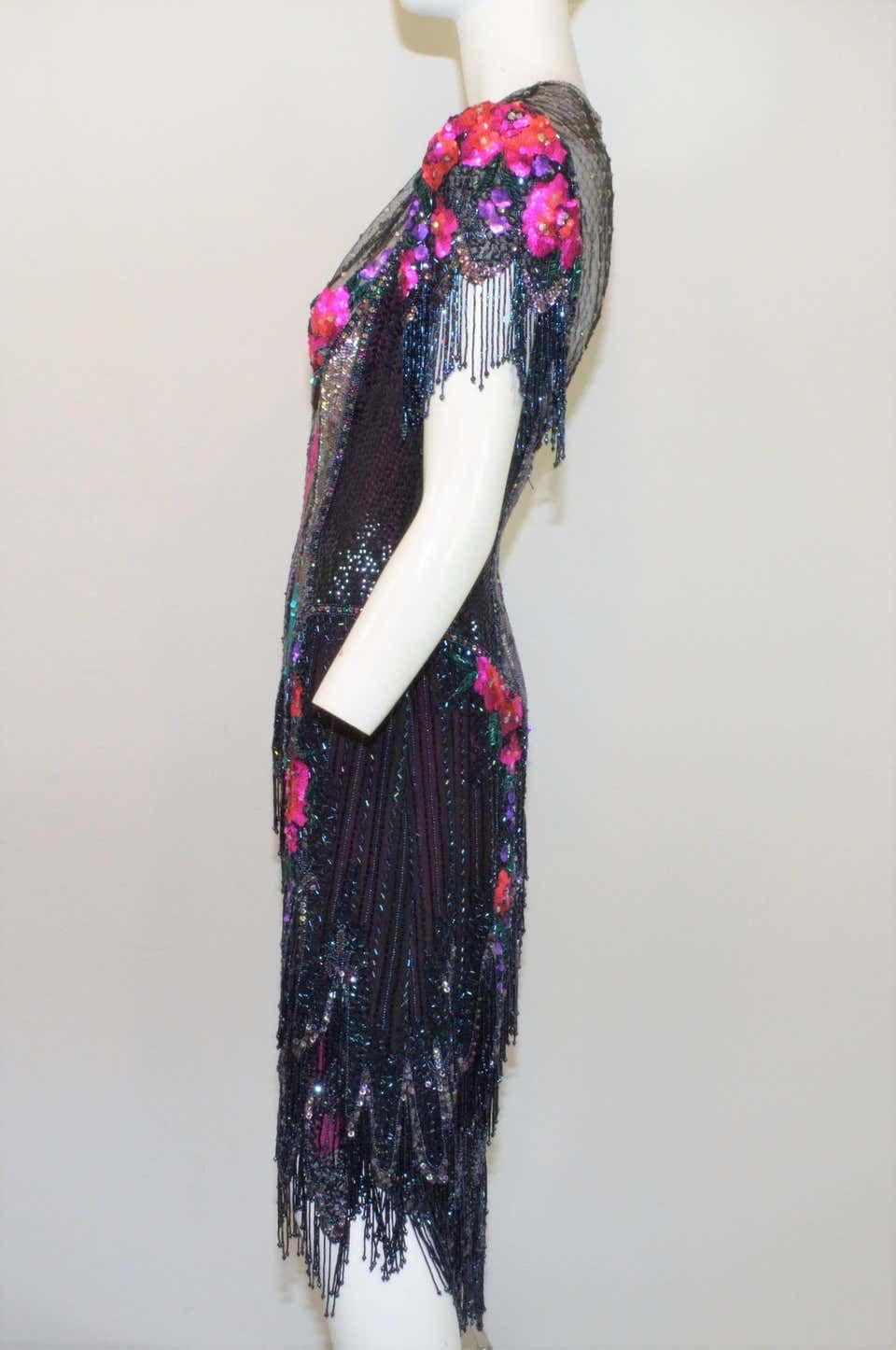 Bob mackie 1970s fringe beaded embellished dress in 2020