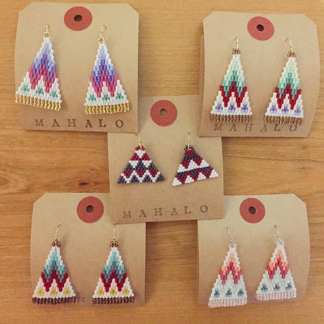 23 Likes 2 Comments Wacana Wakana Sato On Instagram シルバーウィークは仕事で何処にも行けない代わりに 北海道から福岡までピアス イヤ Seed Bead Patterns Brick Stitch Earrings Stitch Jewelry