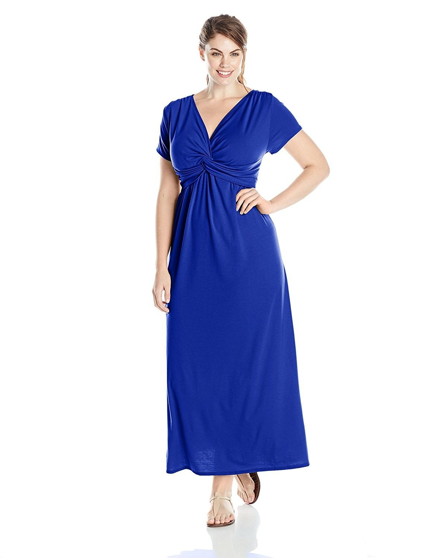 Women S Clothing Dresses Casual Women S Plus Size Short Sleeve Twist Front Maxi Dress Royal Solid Short Sleeve Maxi Dresses Plus Size Dresses Uk Maxi Dress [ 1500 x 1154 Pixel ]