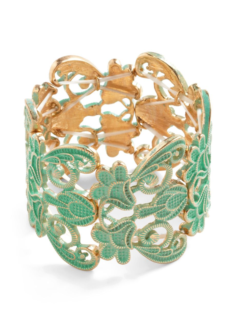 $24.99   Couldn't Filigree More Bracelet - Green, Gold, Casual, Cocktail, Mint