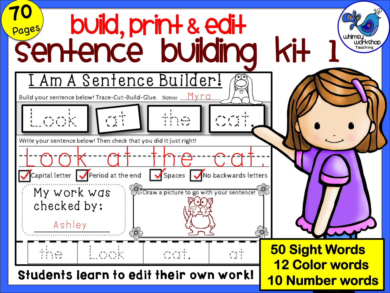 Sentence Building Kit 1 Self Editing Sight Word Sentences