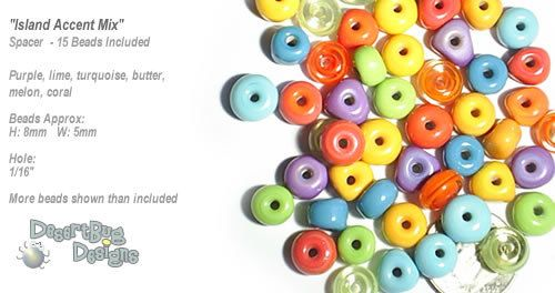 ACCENT Handmade Lampwork Beads 15/$12 Spacers Island Mix by DesertBug Designs