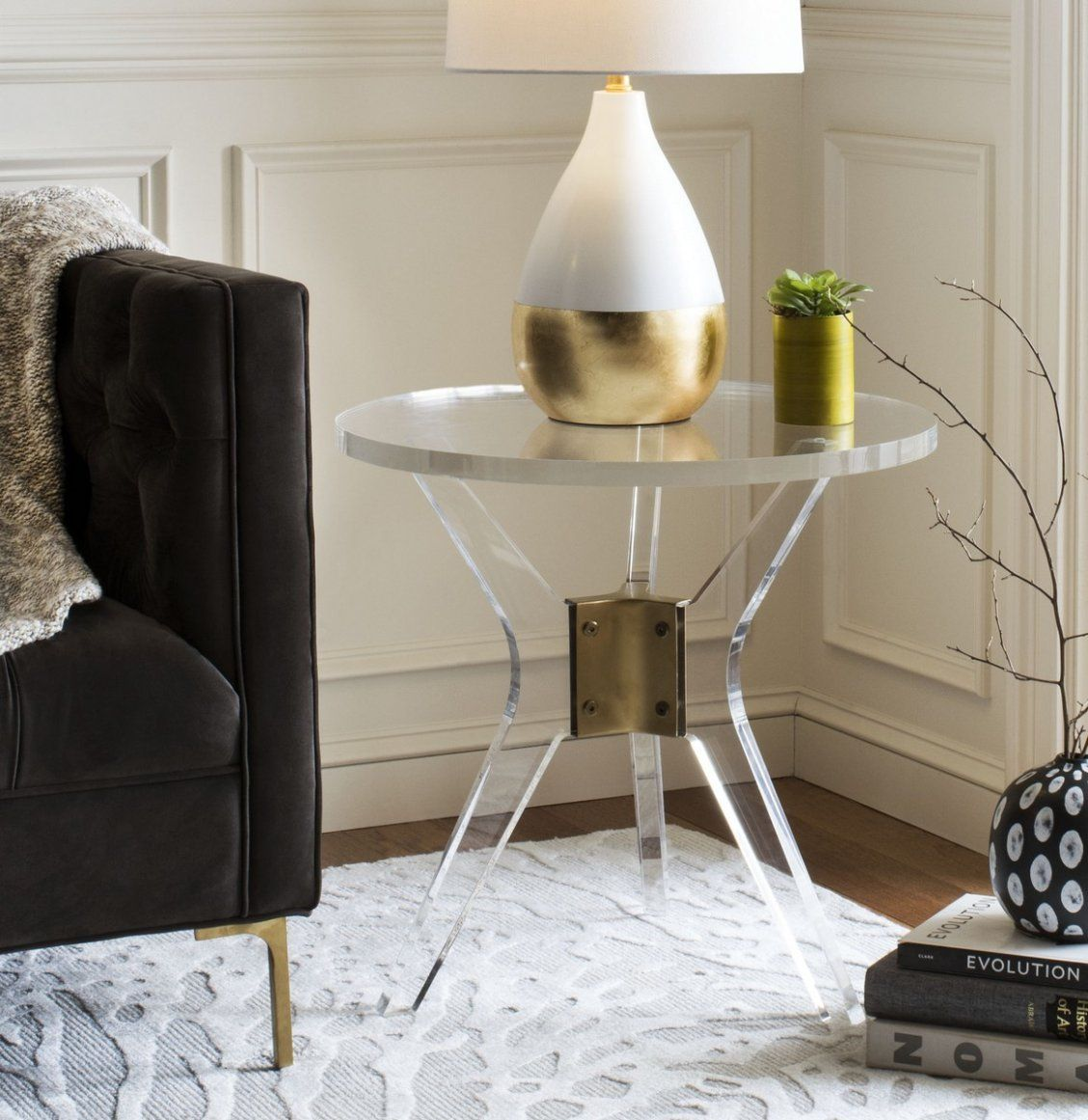 Add An Instant Designer Touch To Any Living Room With This Contemporary Acrylic End Table Boasting High Style Its Bold Metallic Br Detail And