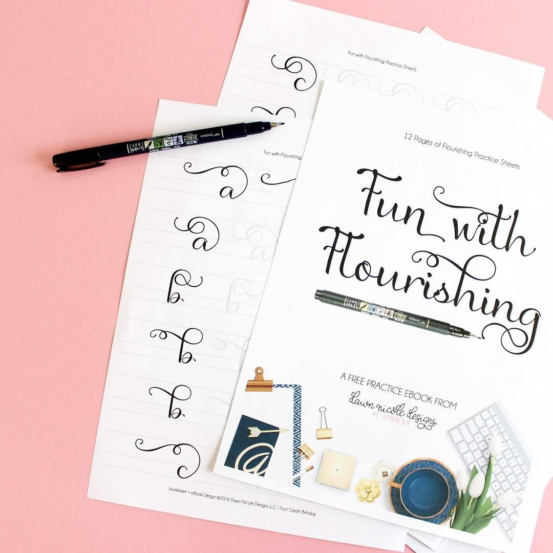 10 Free Brush Lettering Practice Sheets