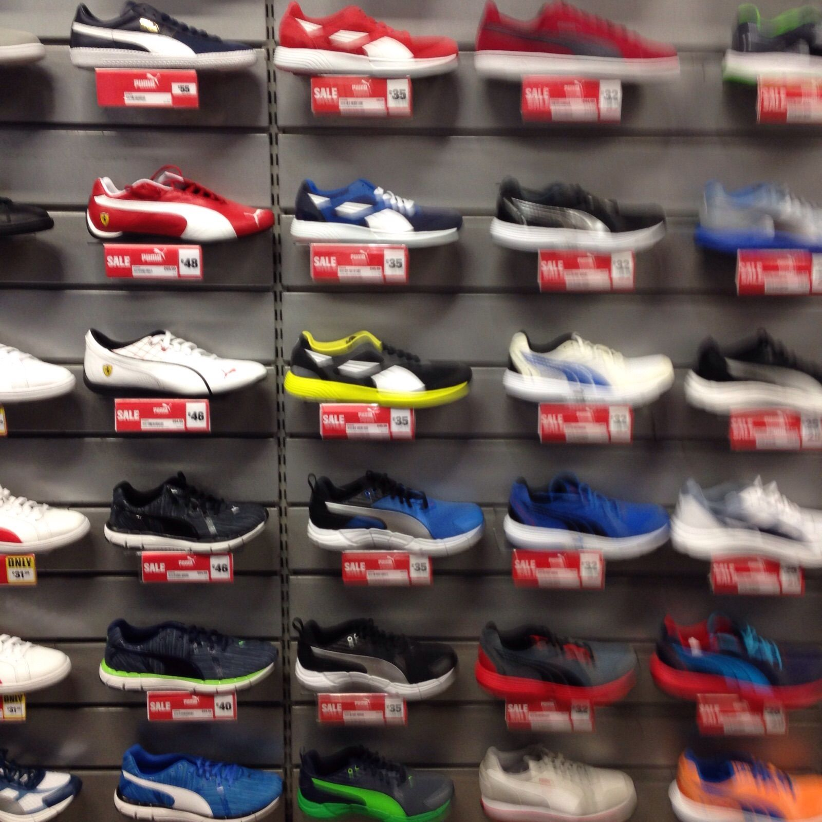 Slatwallpanel shoe display: Slatwall boards are perfect for ...