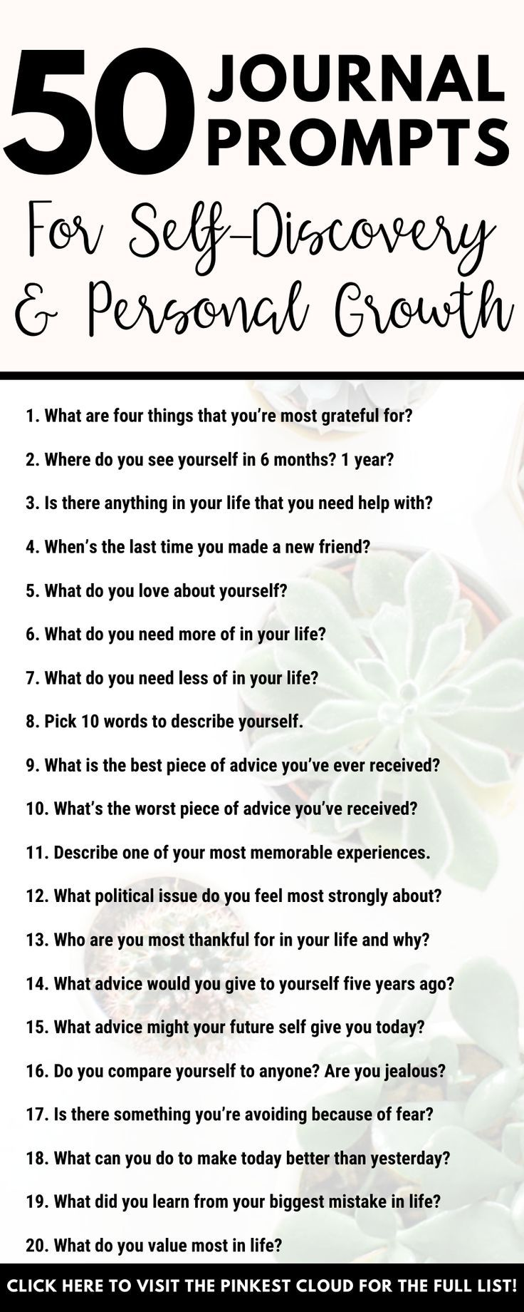 50 Journal Prompts For Self-Discovery #personalgrowth