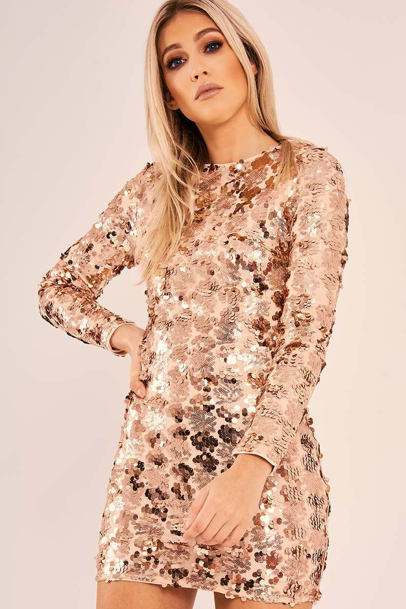 Hanalise rose gold sequin long sleeve bodycon dress in the style
