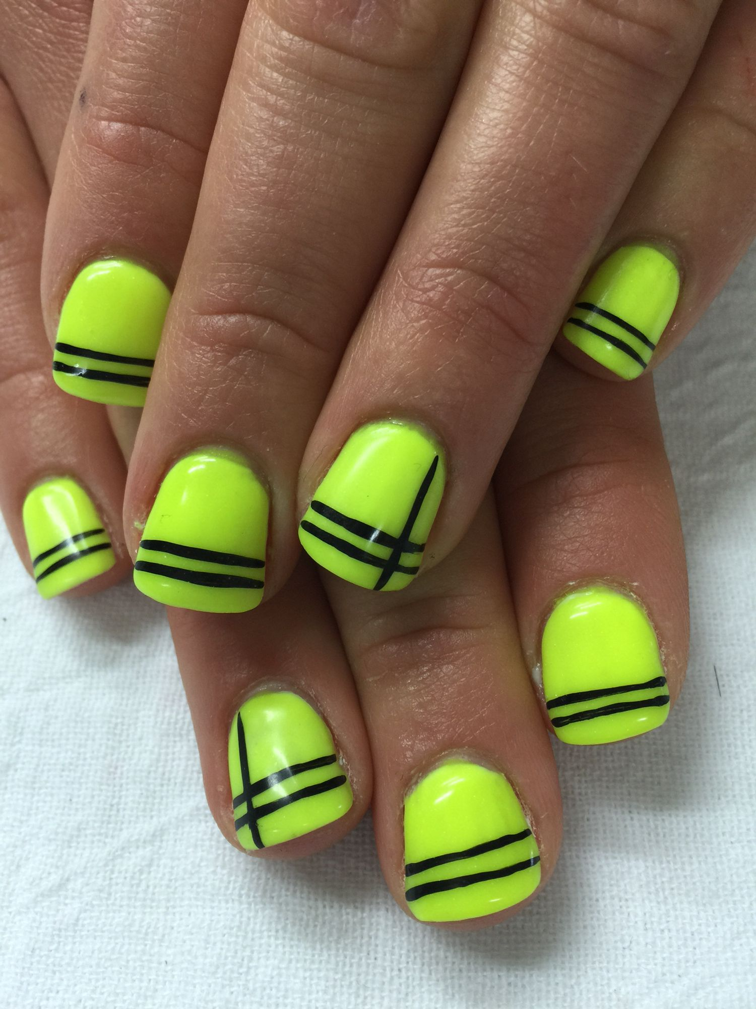 Neon Glow In The Dark Yellow Gel Nails With Black Line Accents