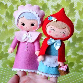 Little Red Riding Hood, Set of 2 Finger Puppets, Felt finger puppets, Grandma felt doll, Kids Felt Toys, felt dolls #littledolls