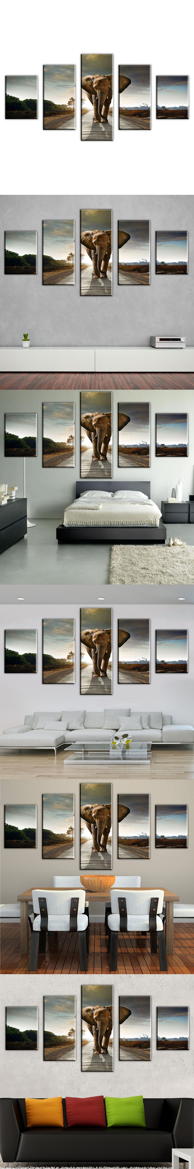 5 Ppcs Elephant Painting Wall Art Picture Home Decoration modern abstract Canvas Print Modern Painting Large Canvas Unframed $43