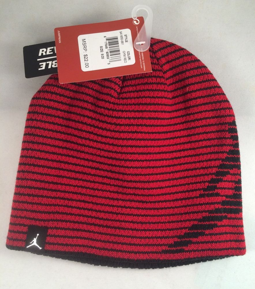 4d502983 Nike Air Jordan Beanie Cap Hat Red Black Size 8/20 Boys Reversible Gift # Nike #Beanie