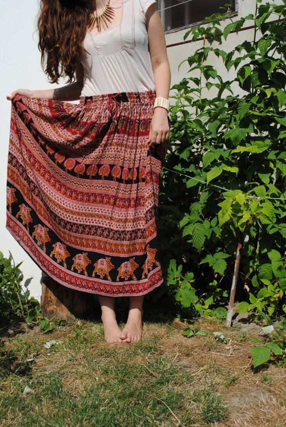 Indian midi skirt, indian kirt, ethnic gipsy skirt, vintage long skirt, black, red, orange skirt, light summer skirt