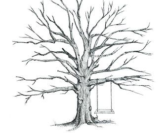 How To Draw Trees Without Leaves Hand Drawn Wedding Thumbprint Tree Drawing Drawings Tree Coloring Page