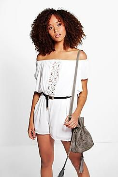 255a5ce112fd1 Norah Off The Shoulder Crochet Trim Playsuit
