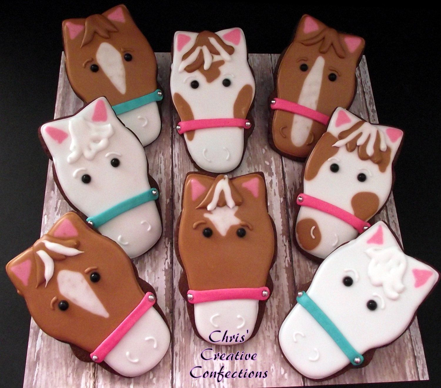 Horse Face Decorated Sugar Cookies and a by ChrisCreativeConfect, $42.00