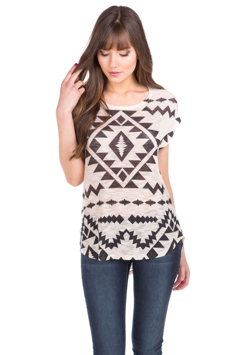 High-Low Aztec Print Sweater