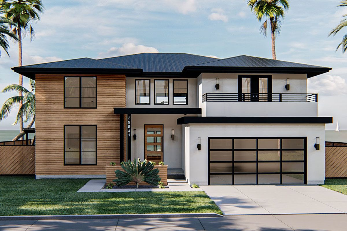 Plan 62871dj Modern Prairie Style House Plan With Second Floor Deck In 2020 Prairie Style Houses Modern Style House Plans Contemporary House Exterior