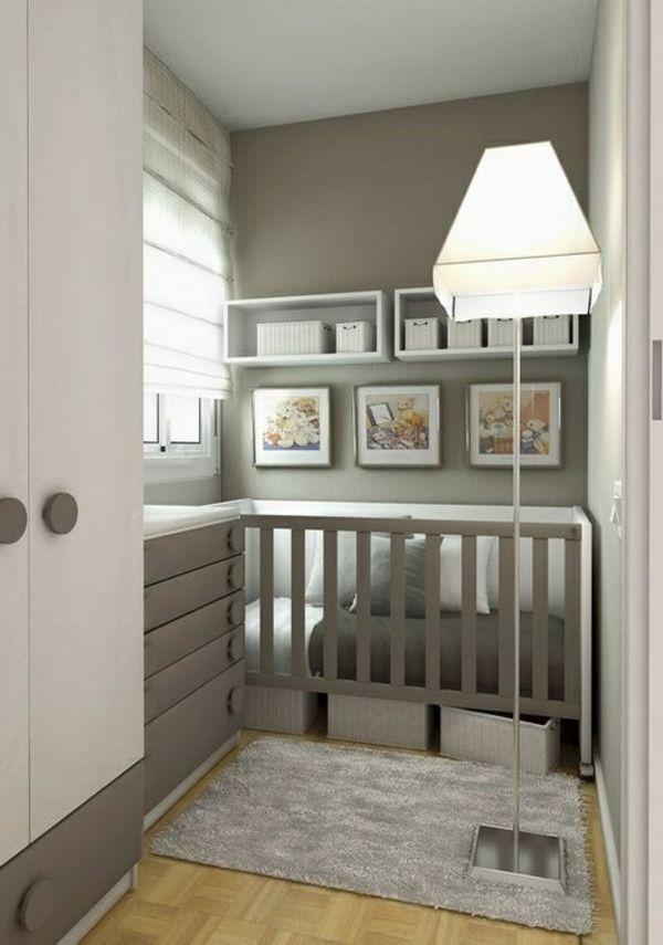 babyzimmer design grau weiß wandregale lampe | kinderzimmer ... - Babyzimmer Beige Wei
