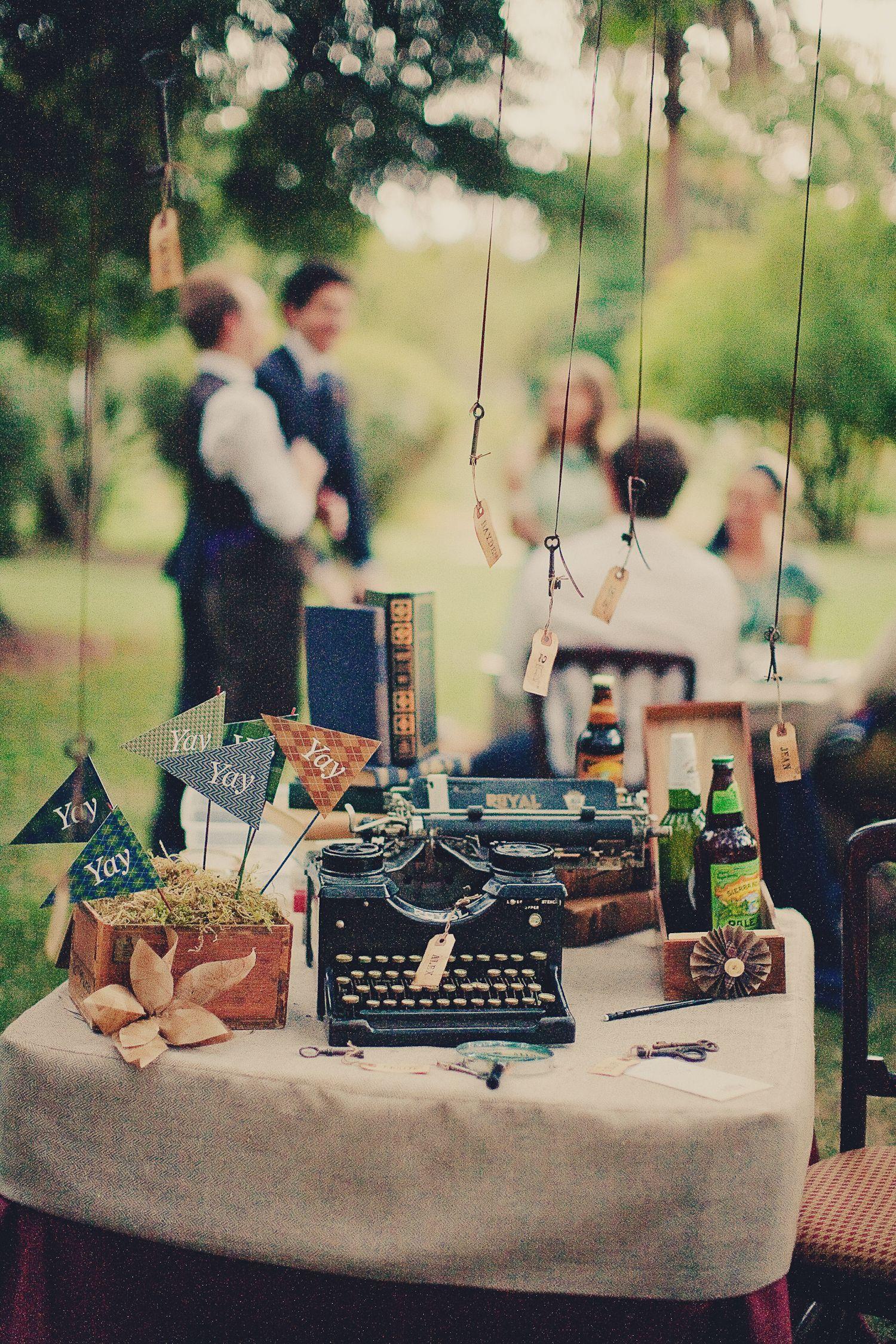Vintage Preppy Engagement Party Guest Table