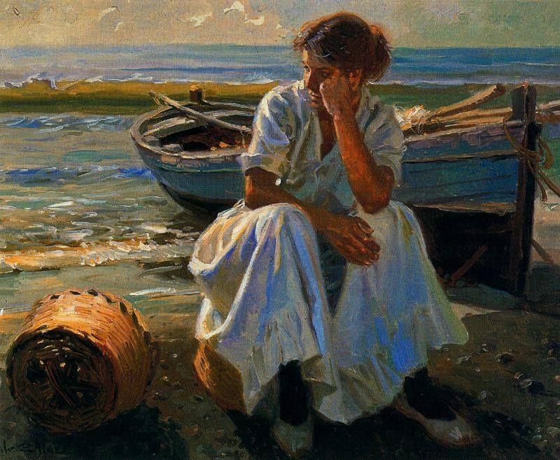 La espera Juan González Alacreu Art, Art painting