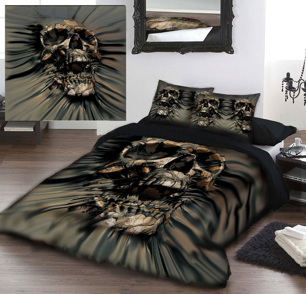 skull ripthru  duvet cover set for kingsize bed artwork by david  - skull ripthru  duvet cover set for kingsize bed artwork by david penfound