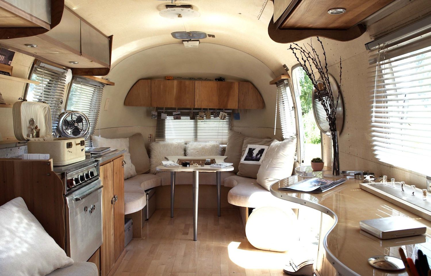 More airstream love custom airstream interiors pinterest for Campervan interior designs