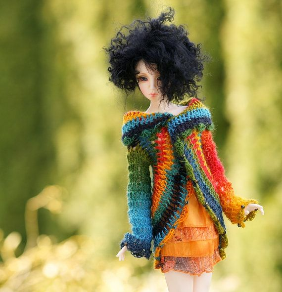 Wool beaded Jacket Sweater Coat  for SD Dollfie by Theworldofdolls, $48.11
