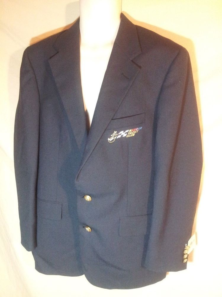 VINTAGE Chaps Ralph Lauren NASCAR YACHT CLUB Sport Coat Blazer US UNION MADE 42L #RalphLauren #Nascar