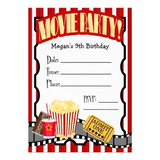 Movie Party Invitations Birthday Free Printable Custom Themes