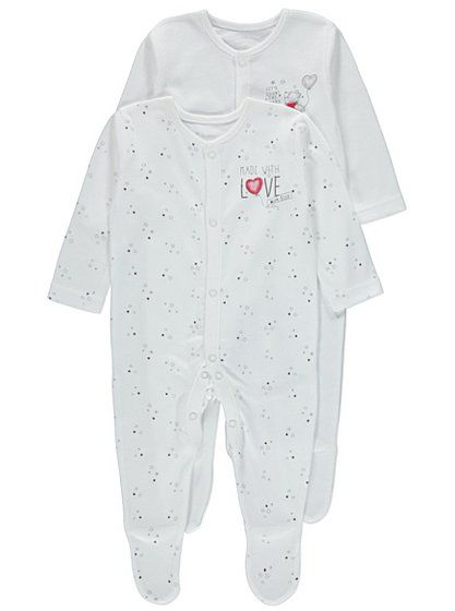 ceb2e1481 Disney 2 Pack Winnie the Pooh Made with Love Sleepsuits