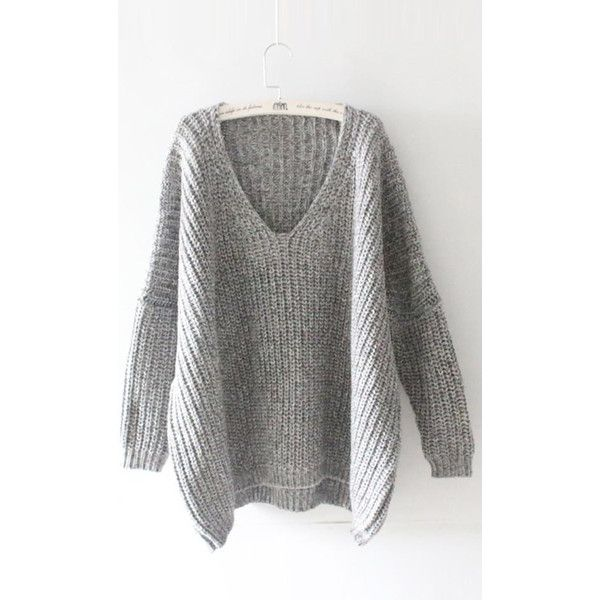 Easy Does It Plunging Oversized Sweater CUPSHE ($33) ❤ liked on ...