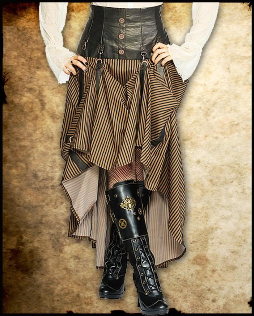 steampunk skirt | Steampunk Long Black Brown Stripe Corset Skirt Intrepid Cog Jawbreaker ...