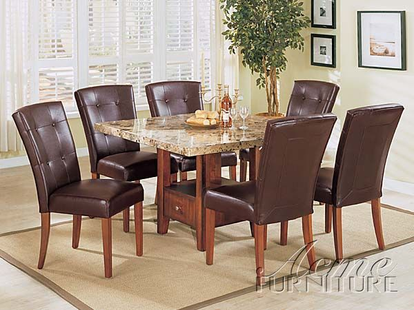 Bologna Brown Marble Top Dining Table Set 07050 Set By Acme Upholstery Trends Furniture Upholstery Dining Table Marble