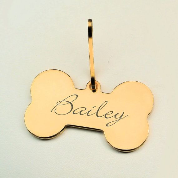 Personalized Gold Dog Bone Pet Tag