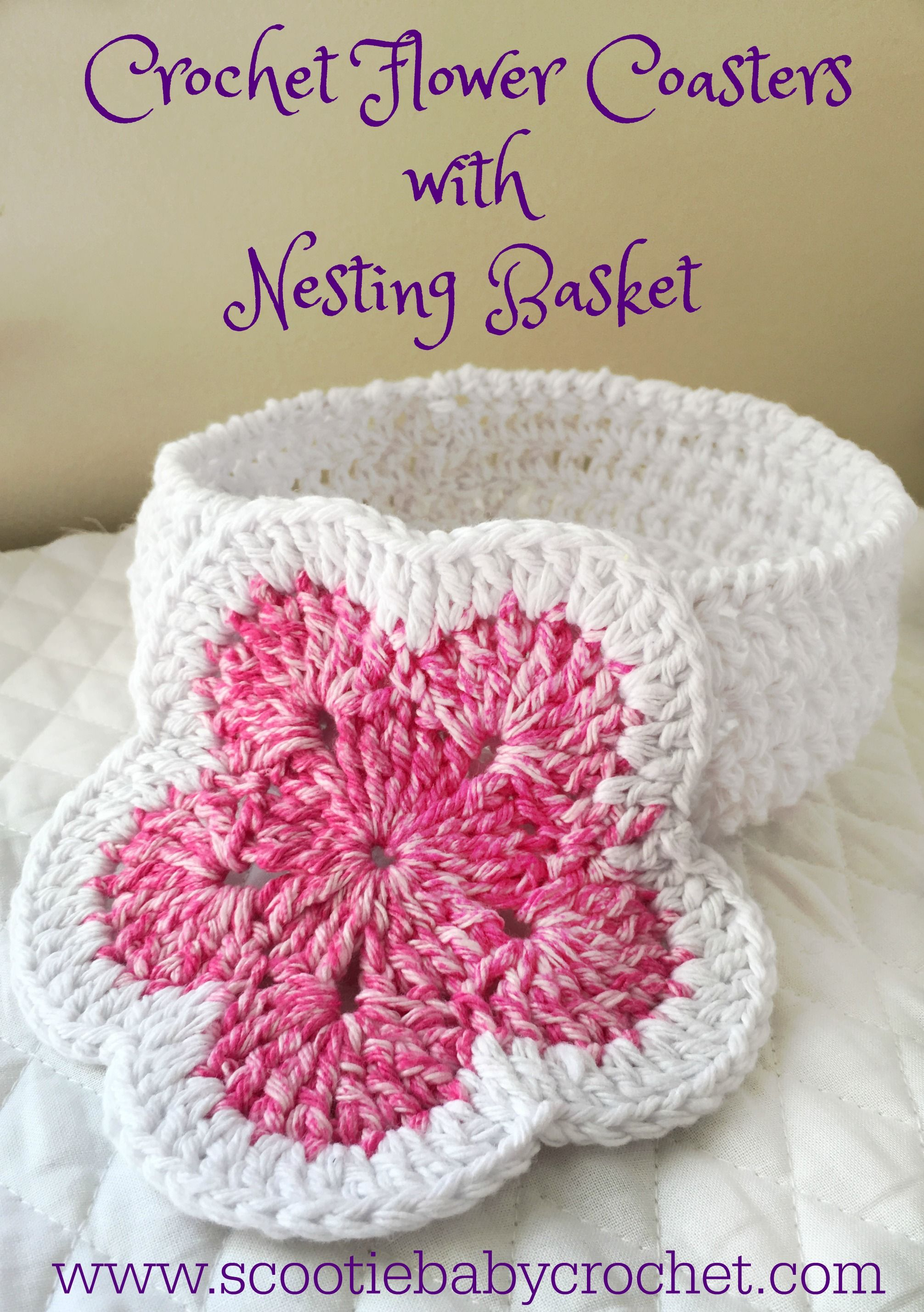 Quick Easy And Cheery Crocheted Flower Coasters With Nesting