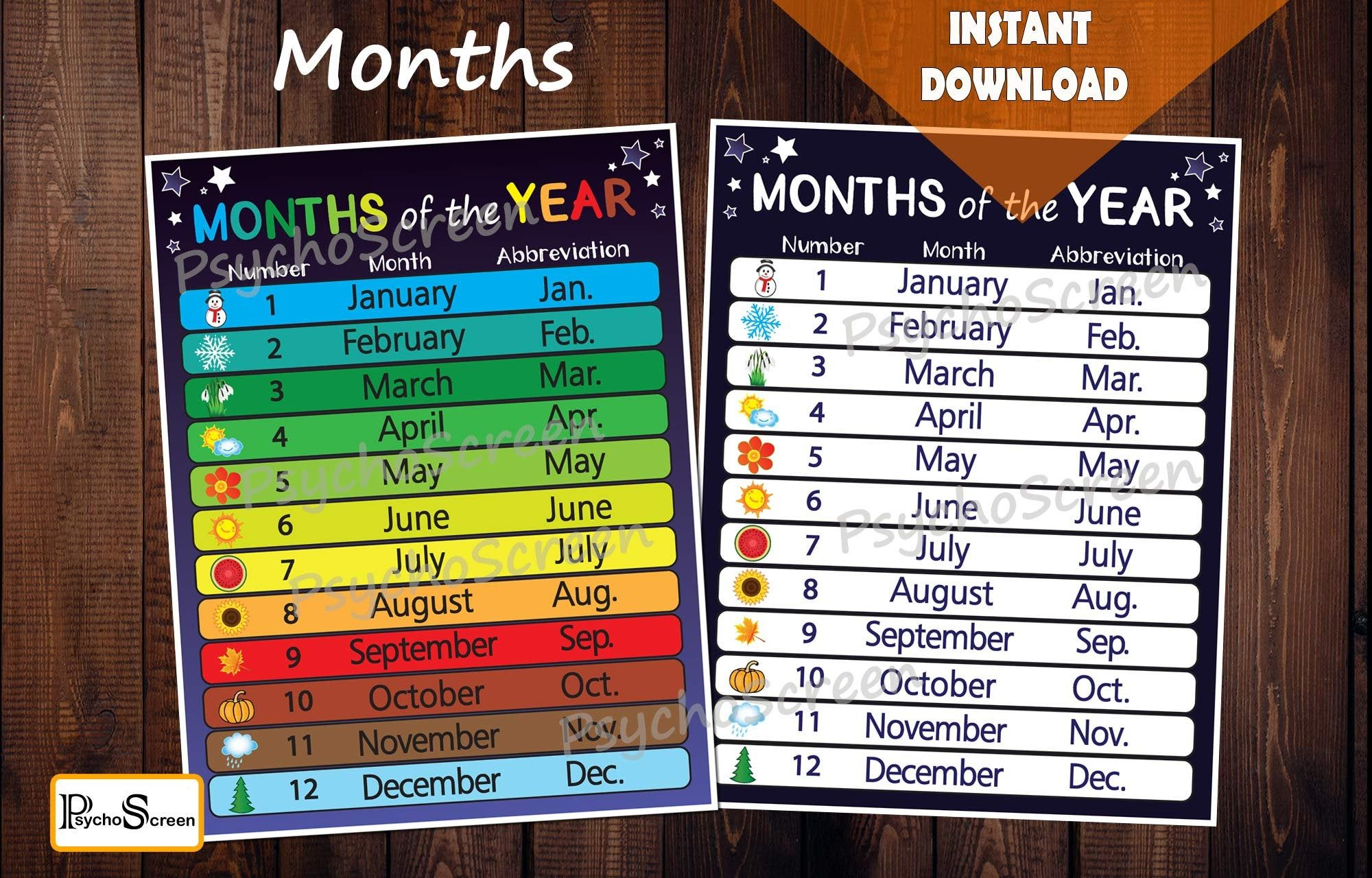 Blue Months Of The Year Posters And Worksheets Perpetual