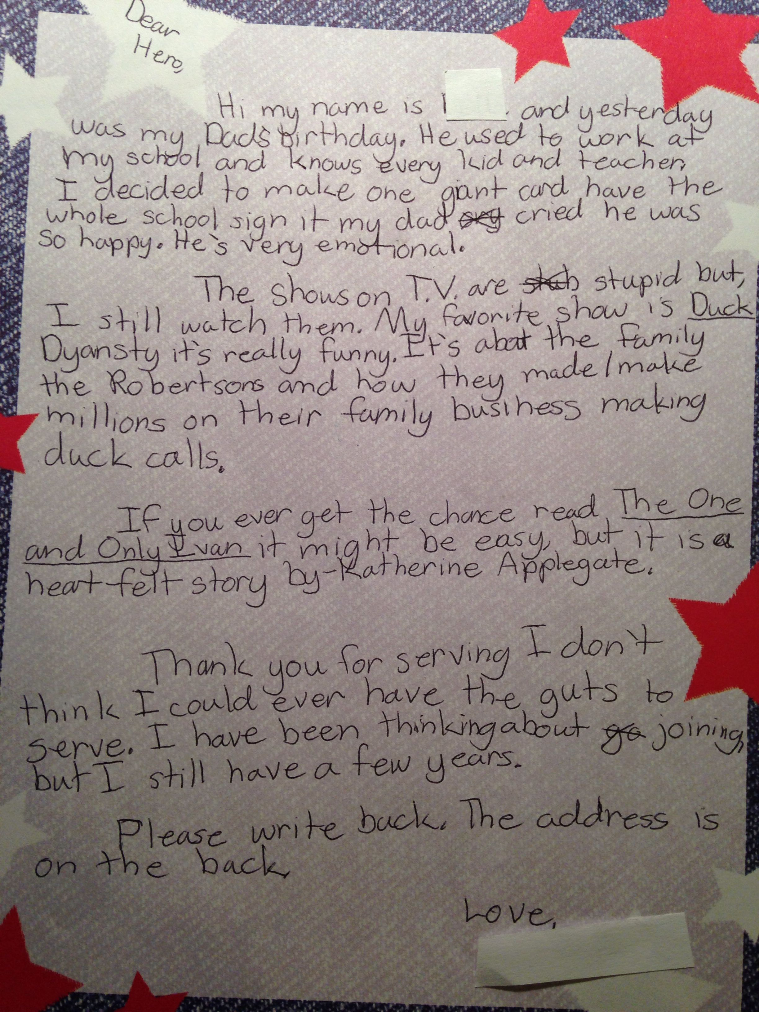 Write a letter to a soldier for students more room cofer essay