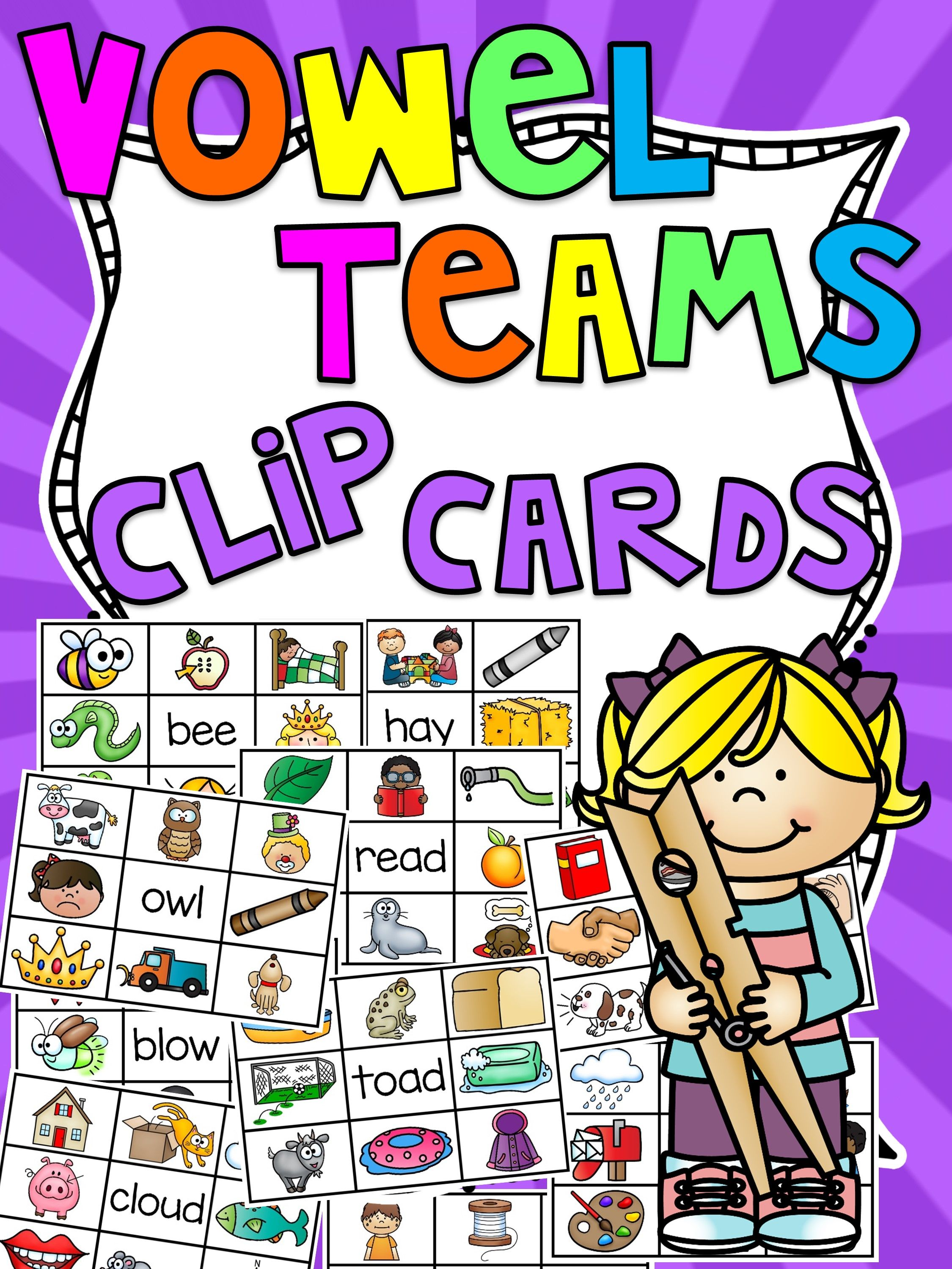 Vowel Teams Clip Cards Centers Bundle
