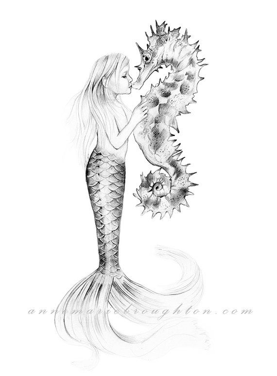 SIGNED Little Girl Mermaid Kissing Seahorse by ...
