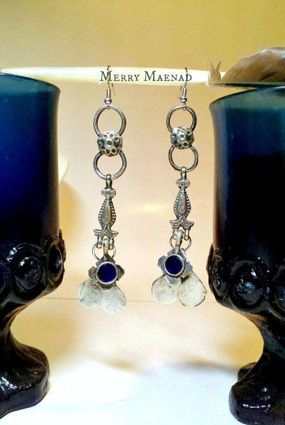 Blue heart long Kuchi drop earrings. Tribal fusion door MerryMaenad, $23.50