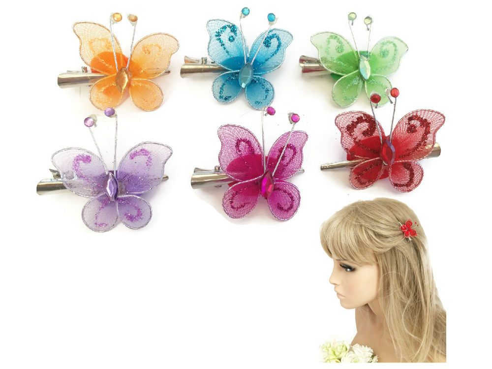 4 cm Glittery diamante butterfly concorde hair clip grip 6 colours available