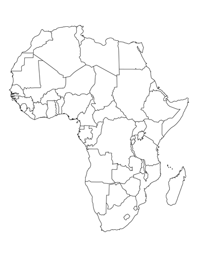 Printable Blank Africa Map.Two Printable Maps Of Africa One With Country Lines And One Without