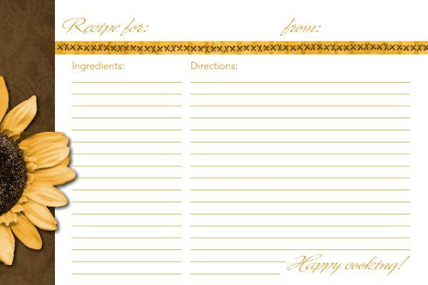 4X6 Recipe Card Template | Sunflower Recipe Card | Recipe